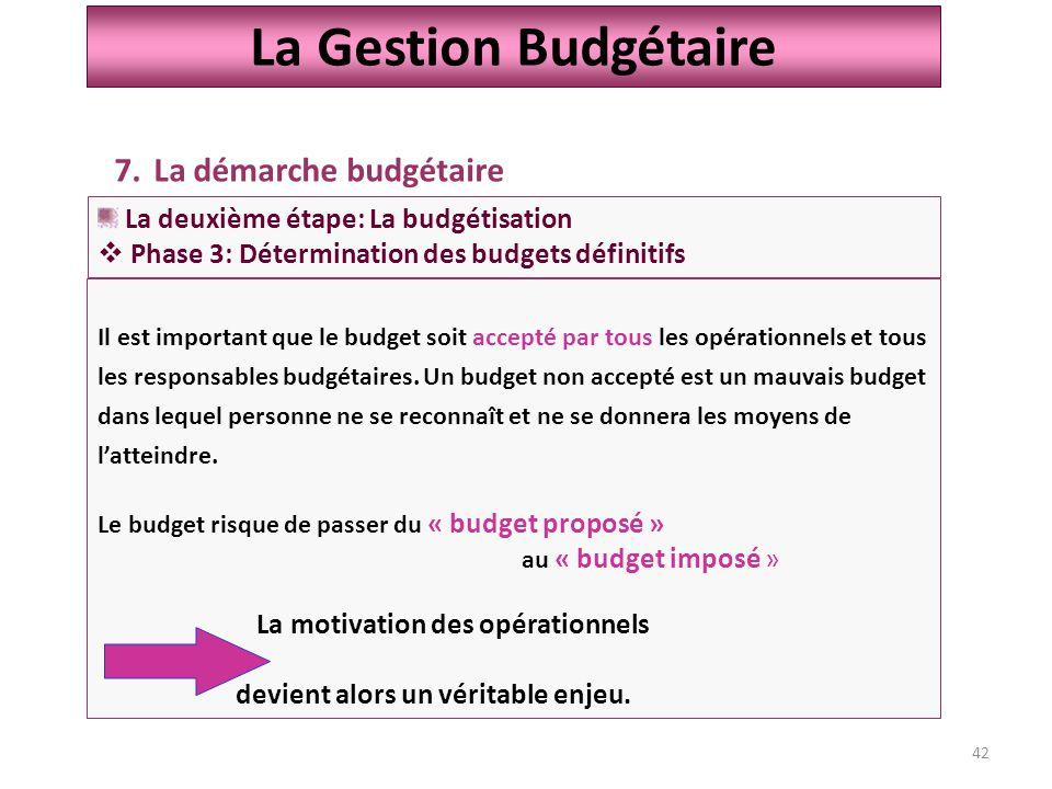 42 La Gestion Budgétaire 7.La démarche budgétaire La deuxième étape: La budgétisation  Phase 3: Détermination des budgets définitifs Il est important que le budget soit accepté par tous les opérationnels et tous les responsables budgétaires.