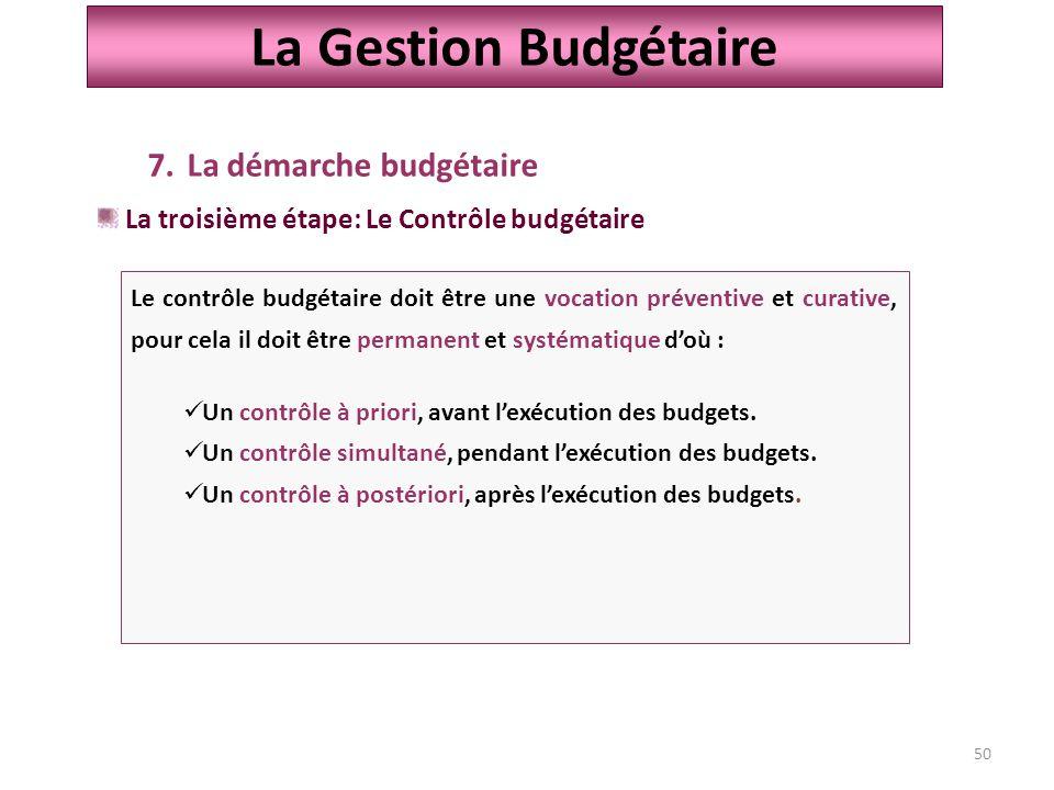 50 La Gestion Budgétaire 7.La démarche budgétaire La troisième étape: Le Contrôle budgétaire Le contrôle budgétaire doit être une vocation préventive et curative, pour cela il doit être permanent et systématique d'où : Un contrôle à priori, avant l'exécution des budgets.