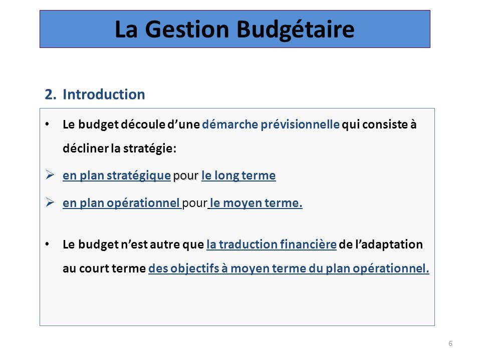 6 Le budget découle d'une démarche prévisionnelle qui consiste à décliner la stratégie: pour  en plan stratégique pour le long terme  en plan opérationnel pour le moyen terme.