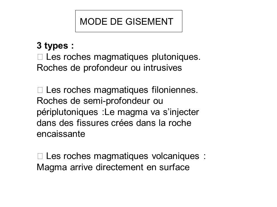 MODE DE GISEMENT 3 types :  Les roches magmatiques plutoniques. Roches de profondeur ou intrusives  Les roches magmatiques filoniennes. Roches de se