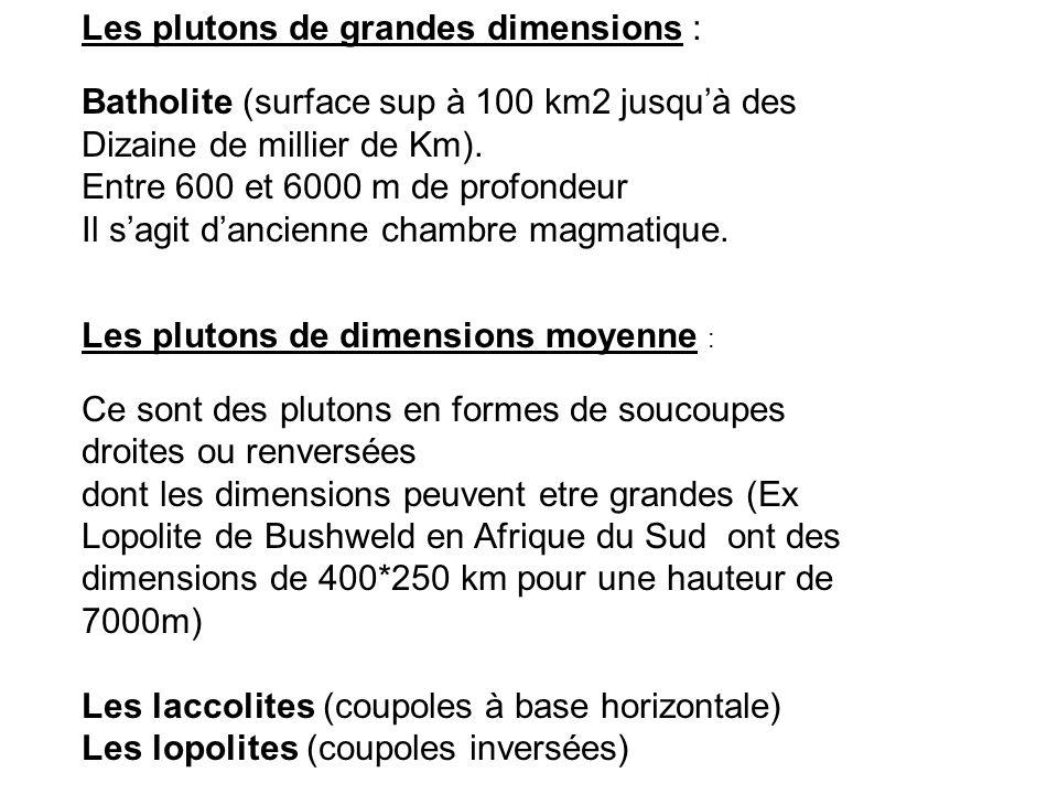Les plutons de grandes dimensions : Batholite (surface sup à 100 km2 jusqu'à des Dizaine de millier de Km). Entre 600 et 6000 m de profondeur Il s'agi
