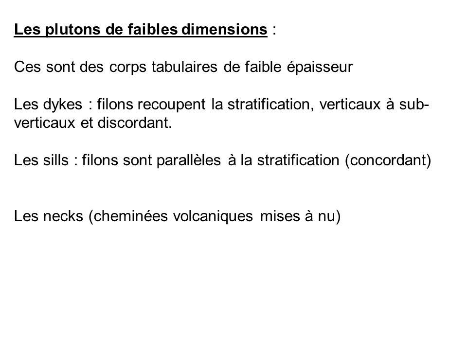 Les plutons de faibles dimensions : Ces sont des corps tabulaires de faible épaisseur Les dykes : filons recoupent la stratification, verticaux à sub-