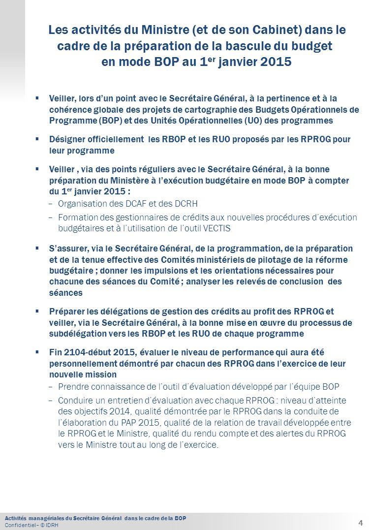 Activités managériales du Secrétaire Général dans le cadre de la BOP Confidentiel– © IDRH  Veiller, lors d'un point avec le Secrétaire Général, à la pertinence et à la cohérence globale des projets de cartographie des Budgets Opérationnels de Programme (BOP) et des Unités Opérationnelles (UO) des programmes  Désigner officiellement les RBOP et les RUO proposés par les RPROG pour leur programme  Veiller, via des points réguliers avec le Secrétaire Général, à la bonne préparation du Ministère à l'exécution budgétaire en mode BOP à compter du 1 er janvier 2015 : − Organisation des DCAF et des DCRH − Formation des gestionnaires de crédits aux nouvelles procédures d'exécution budgétaires et à l'utilisation de l'outil VECTIS  S'assurer, via le Secrétaire Général, de la programmation, de la préparation et de la tenue effective des Comités ministériels de pilotage de la réforme budgétaire ; donner les impulsions et les orientations nécessaires pour chacune des séances du Comité ; analyser les relevés de conclusion des séances  Préparer les délégations de gestion des crédits au profit des RPROG et veiller, via le Secrétaire Général, à la bonne mise en œuvre du processus de subdélégation vers les RBOP et les RUO de chaque programme  Fin 2104-début 2015, évaluer le niveau de performance qui aura été personnellement démontré par chacun des RPROG dans l'exercice de leur nouvelle mission − Prendre connaissance de l'outil d'évaluation développé par l'équipe BOP − Conduire un entretien d'évaluation avec chaque RPROG : niveau d'atteinte des objectifs 2014, qualité démontrée par le RPROG dans la conduite de l'élaboration du PAP 2015, qualité de la relation de travail développée entre le RPROG et le Ministre, qualité du rendu compte et des alertes du RPROG vers le Ministre tout au long de l'exercice.