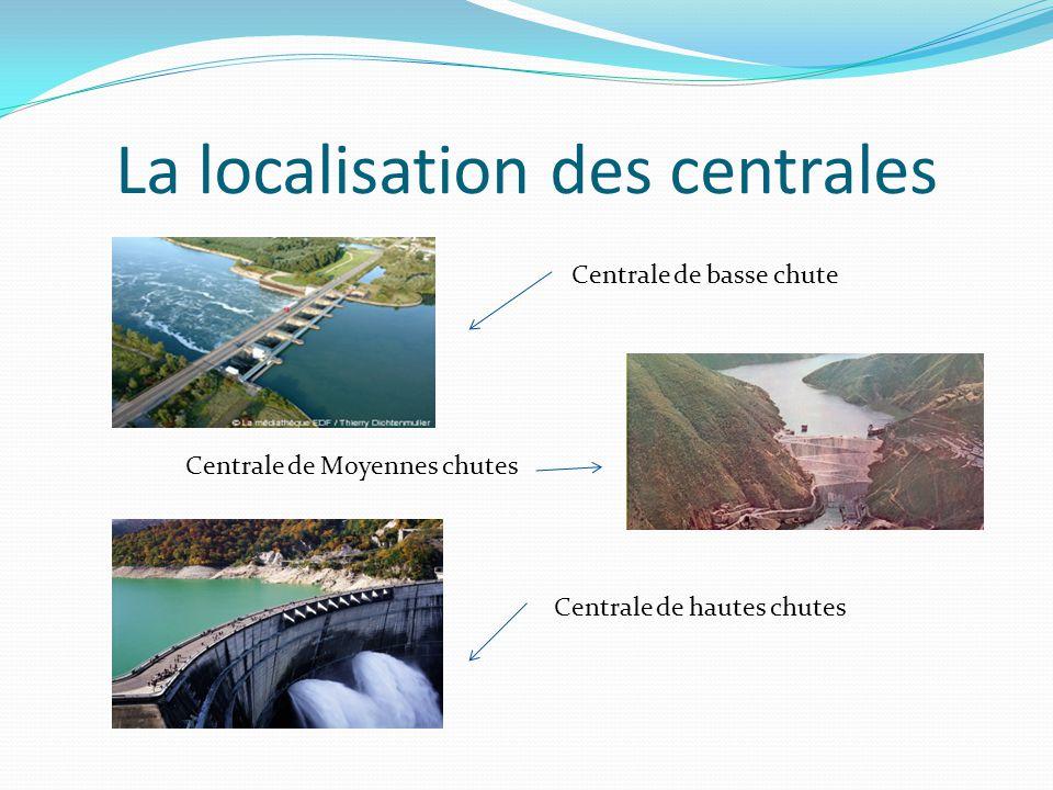 La localisation des centrales Centrale de Moyennes chutes Centrale de basse chute Centrale de hautes chutes