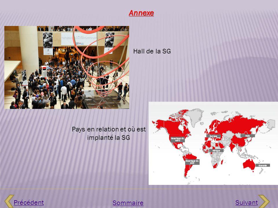 Précédent Sommaire Suivant Hall de la SG Annexe Pays en relation et où est implanté la SG