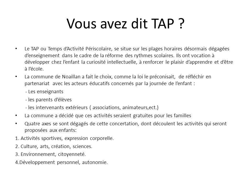 Vous avez dit TAP ? Le TAP ou Temps d'Activité Périscolaire, se situe sur les plages horaires désormais dégagées d'enseignement dans le cadre de la ré