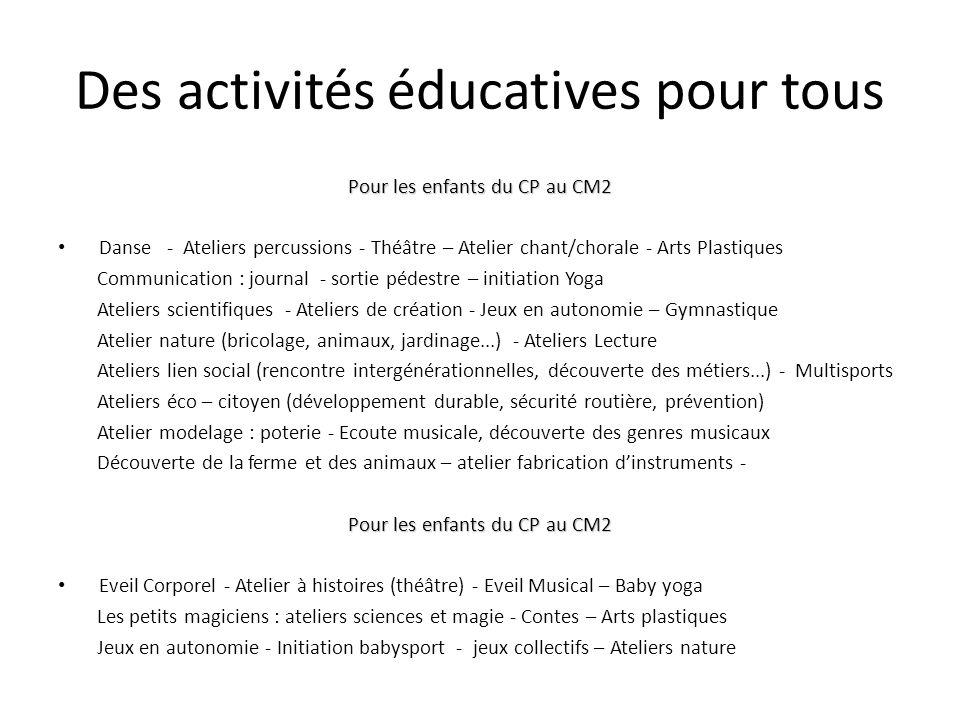 Des activités éducatives pour tous Pour les enfants du CP au CM2 Danse - Ateliers percussions - Théâtre – Atelier chant/chorale - Arts Plastiques Comm