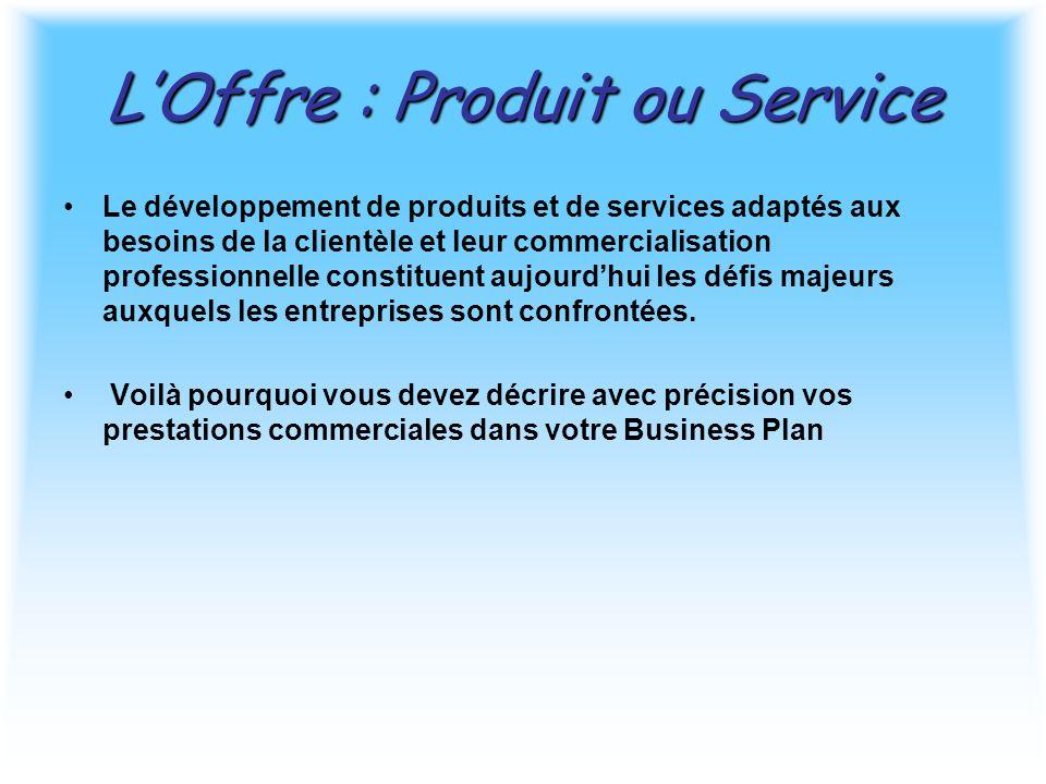 L'Offre : Produit ou Service Le développement de produits et de services adaptés aux besoins de la clientèle et leur commercialisation professionnelle