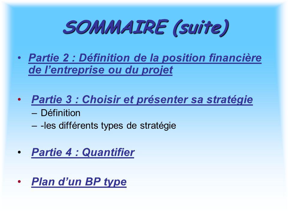 SOMMAIRE (suite) Partie 2 : Définition de la position financière de l'entreprise ou du projet Partie 3 : Choisir et présenter sa stratégie –Définition –-les différents types de stratégie Partie 4 : Quantifier Plan d'un BP type