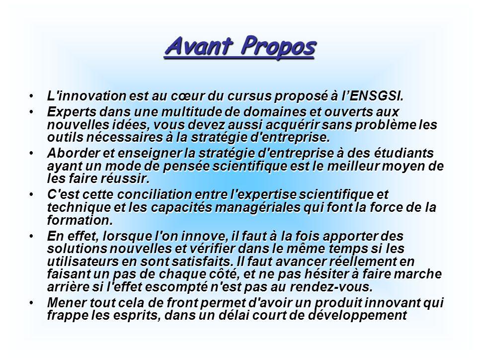 Avant Propos L'innovation est au cœur du cursus proposé à l'ENSGSI.L'innovation est au cœur du cursus proposé à l'ENSGSI. Experts dans une multitude d