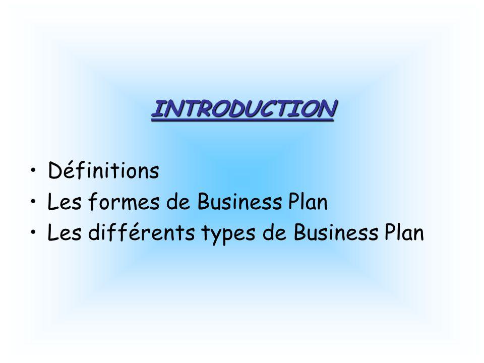 INTRODUCTION Définitions Les formes de Business Plan Les différents types de Business Plan