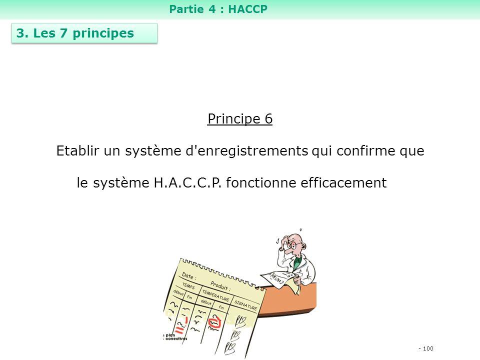 - 100 Principe 6 Etablir un système d enregistrements qui confirme que le système H.A.C.C.P.