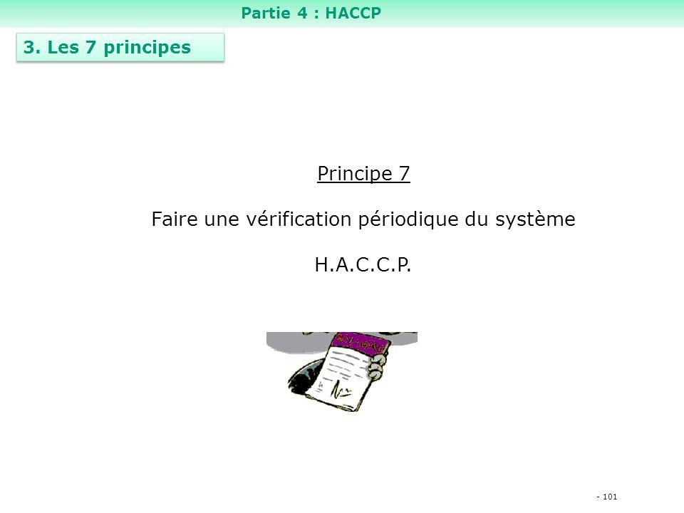 - 101 Principe 7 Faire une vérification périodique du système H.A.C.C.P.