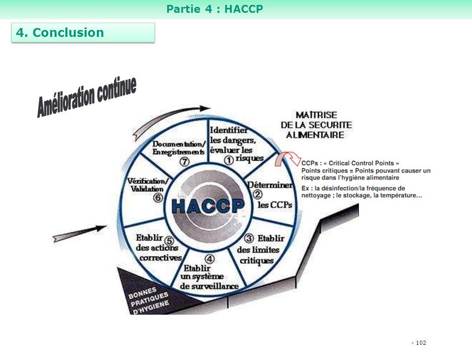 - 102 4. Conclusion Partie 4 : HACCP