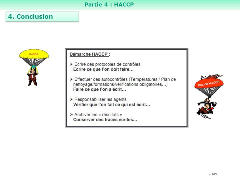 - 103 4. Conclusion Partie 4 : HACCP