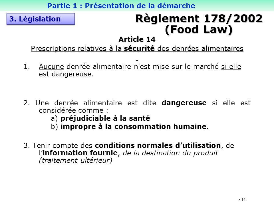 - 14 Règlement 178/2002 (Food Law) Article 14 Prescriptions relatives à la sécurité des denrées alimentaires 1.Aucune denrée alimentaire n est mise sur le marché si elle est dangereuse.