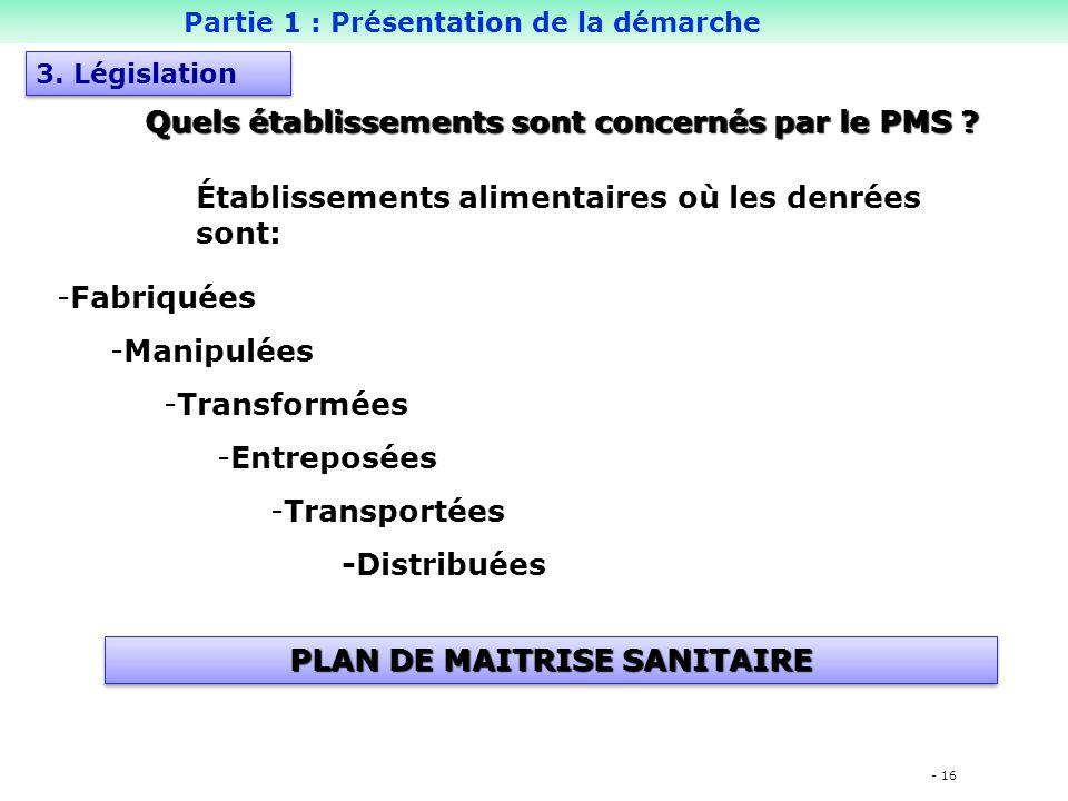 - 16 -Fabriquées -Manipulées -Transformées -Entreposées -Transportées -Distribuées PLAN DE MAITRISE SANITAIRE Quels établissements sont concernés par le PMS .