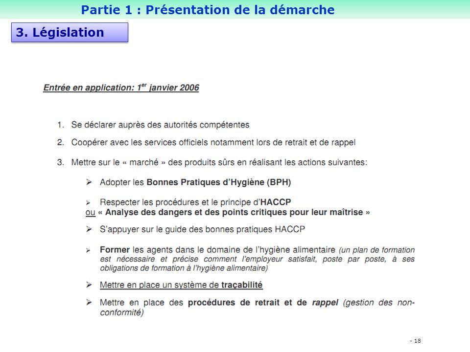 - 18 Partie 1 : Présentation de la démarche 3. Législation