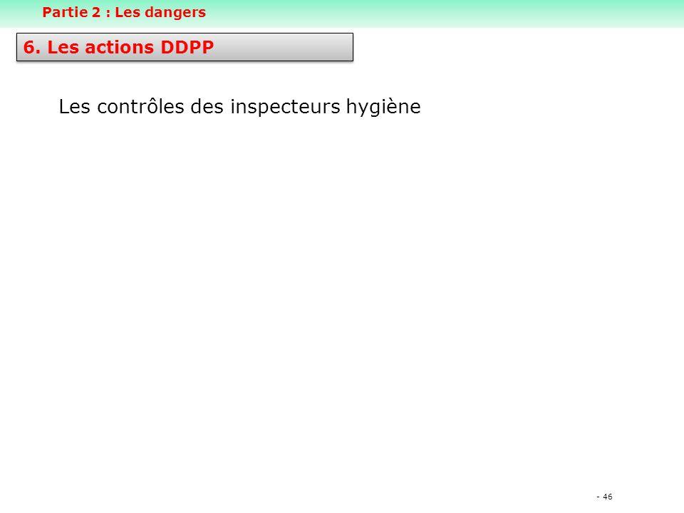- 46 Les contrôles des inspecteurs hygiène 6. Les actions DDPP Partie 2 : Les dangers