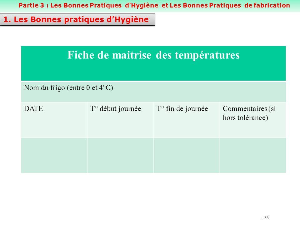 - 53 Fiche de maitrise des températures Nom du frigo (entre 0 et 4°C) DATET° début journéeT° fin de journéeCommentaires (si hors tolérance) 1.