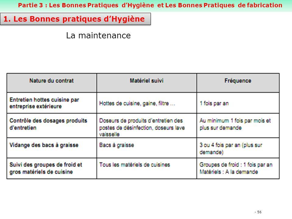 - 56 La maintenance 1.