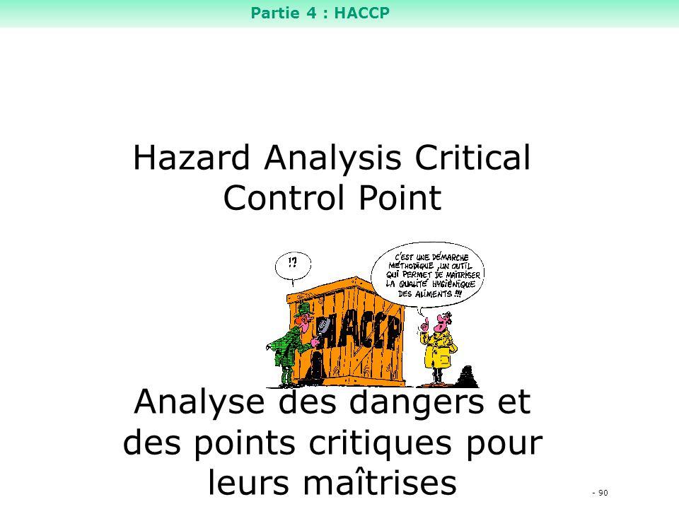 - 90 Hazard Analysis Critical Control Point Analyse des dangers et des points critiques pour leurs maîtrises Partie 4 : HACCP