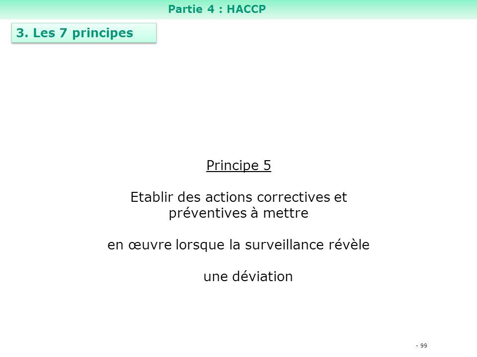 - 99 Principe 5 Etablir des actions correctives et préventives à mettre en œuvre lorsque la surveillance révèle une déviation 3.