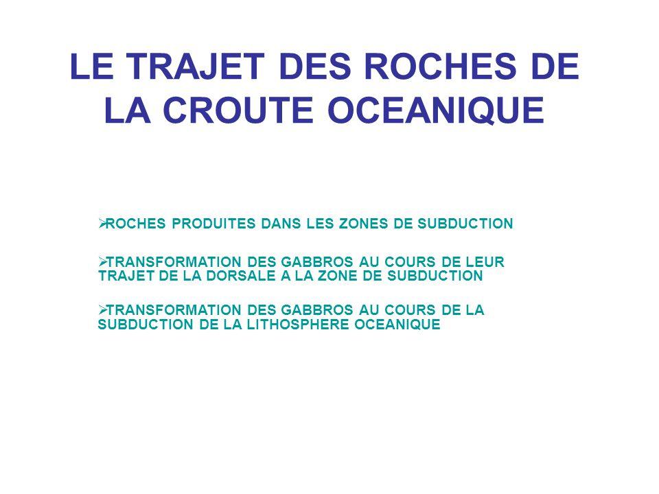 LE TRAJET DES ROCHES DE LA CROUTE OCEANIQUE  ROCHES PRODUITES DANS LES ZONES DE SUBDUCTION  TRANSFORMATION DES GABBROS AU COURS DE LEUR TRAJET DE LA DORSALE A LA ZONE DE SUBDUCTION  TRANSFORMATION DES GABBROS AU COURS DE LA SUBDUCTION DE LA LITHOSPHERE OCEANIQUE