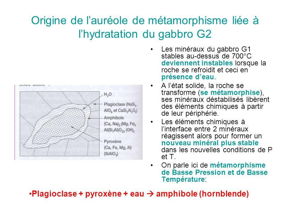 Origine de l'auréole de métamorphisme liée à l'hydratation du gabbro G2 Les minéraux du gabbro G1 stables au-dessus de 700°C deviennent instables lorsque la roche se refroidit et ceci en présence d'eau.