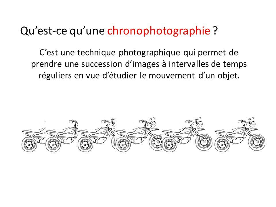 C'est une technique photographique qui permet de prendre une succession d'images à intervalles de temps réguliers en vue d'étudier le mouvement d'un objet.