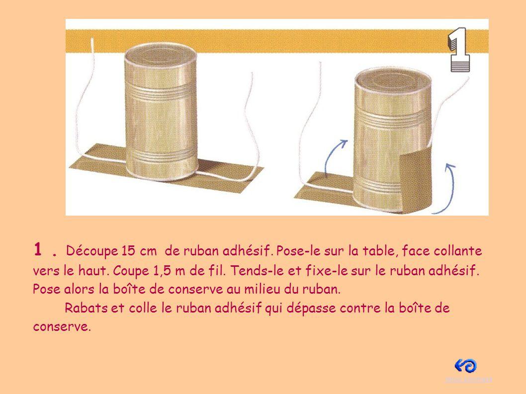 2.Place les boîtes de céréales verticalement sur la table, l une en face de l autre.