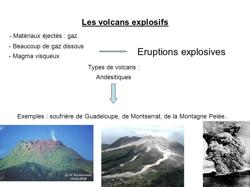 Les volcans explosifs - Beaucoup de gaz dissous - Magma visqueux Eruptions explosives Types de volcans : Andésitiques Exemples : soufrière de Guadeloupe, de Montserrat, de la Montagne Pelée..