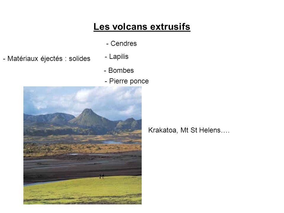 Les volcans extrusifs - Matériaux éjectés : solides - Cendres - Lapilis - Bombes - Pierre ponce Krakatoa, Mt St Helens….
