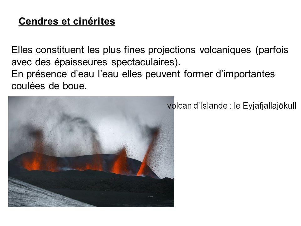 Cendres et cinérites Elles constituent les plus fines projections volcaniques (parfois avec des épaisseures spectaculaires). En présence d'eau l'eau e