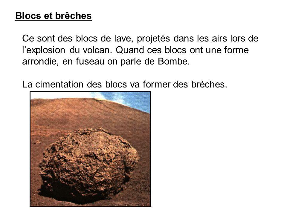 Blocs et brêches Ce sont des blocs de lave, projetés dans les airs lors de l'explosion du volcan.