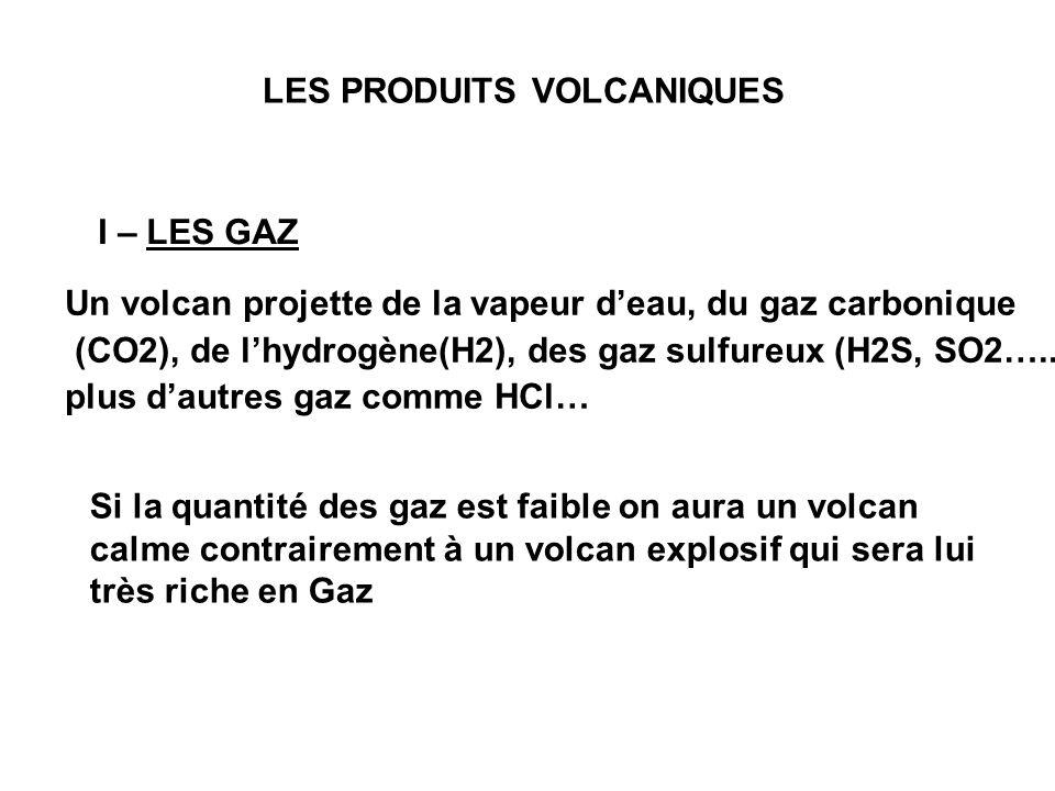 LES PRODUITS VOLCANIQUES I – LES GAZ Un volcan projette de la vapeur d'eau, du gaz carbonique (CO2), de l'hydrogène(H2), des gaz sulfureux (H2S, SO2…..) plus d'autres gaz comme HCl… Si la quantité des gaz est faible on aura un volcan calme contrairement à un volcan explosif qui sera lui très riche en Gaz