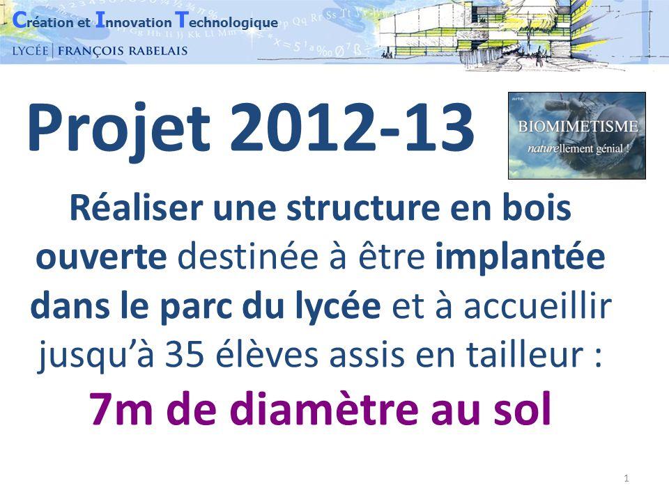 C réation et I nnovation T echnologique 1 Réaliser une structure en bois ouverte destinée à être implantée dans le parc du lycée et à accueillir jusqu'à 35 élèves assis en tailleur : 7m de diamètre au sol Projet 2012-13