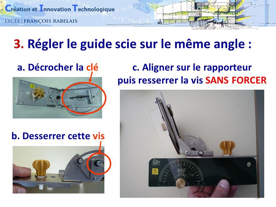 C réation et I nnovation T echnologique 14 3. Régler le guide scie sur le même angle : a.