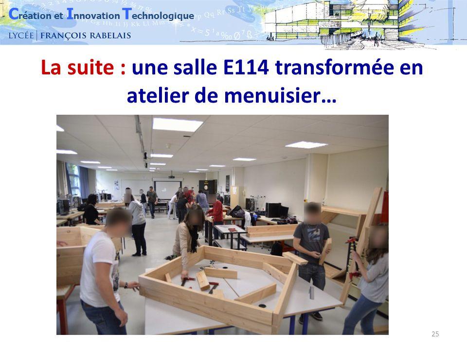 C réation et I nnovation T echnologique 25 La suite : une salle E114 transformée en atelier de menuisier…