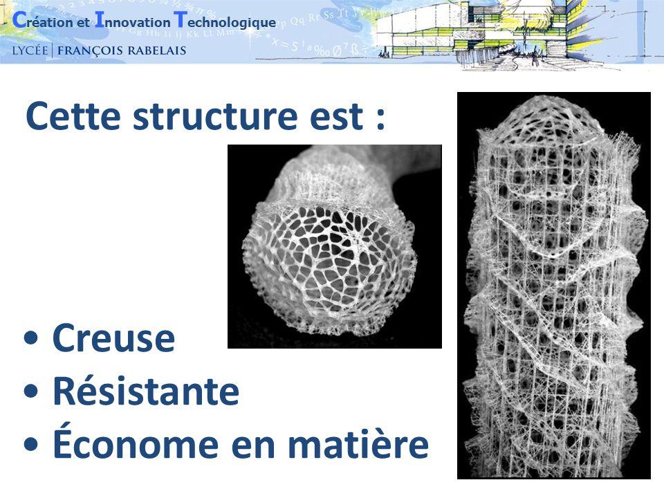 C réation et I nnovation T echnologique 3 Creuse Résistante Économe en matière Cette structure est :