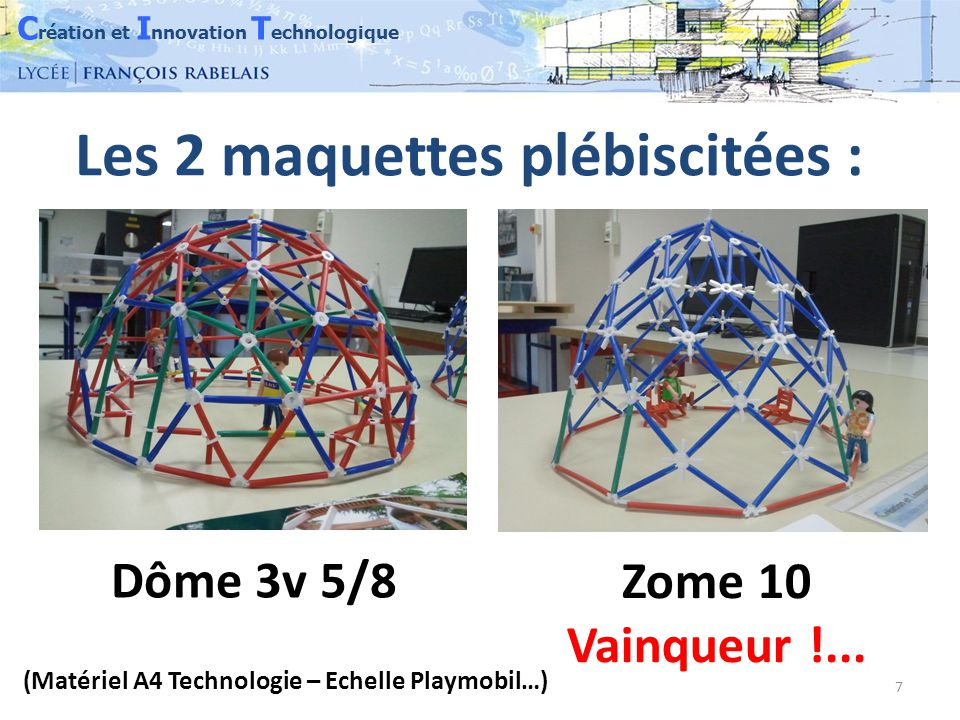 C réation et I nnovation T echnologique 8 Voici une vue CAO 3D du Zome 10 à réaliser sans les renforts : Il nécessite la construction de 50 losanges et 10 triangles reliés par des boulons pliés.