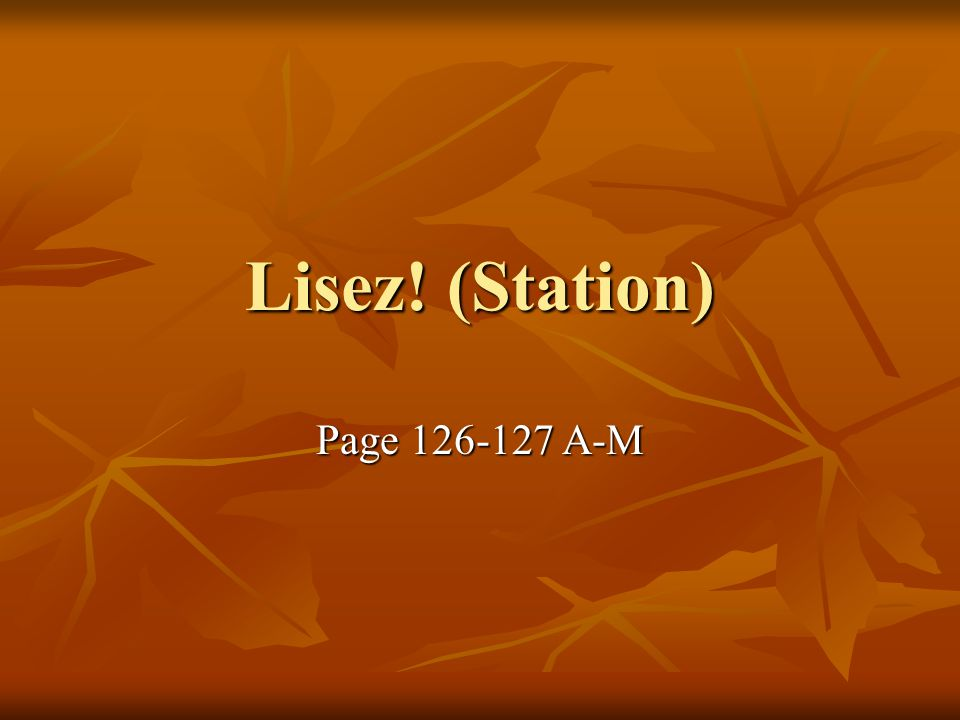 Lisez! (Station) Page A-M