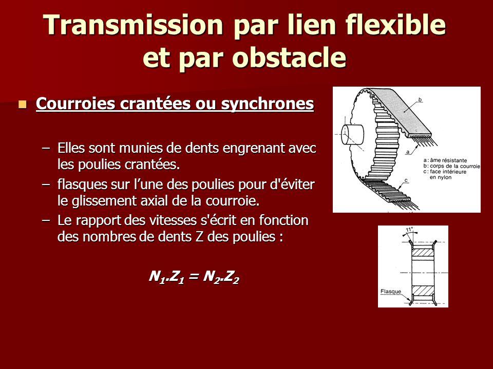 Transmission par lien flexible et par obstacle Transmission par chaînes Transmission par chaînes La courroie est remplacée par un ensemble de maillons généralement en acier qui engrènent avec des roues dentés.
