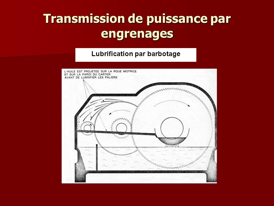 Transmission de puissance par engrenages Lubrification sous pression