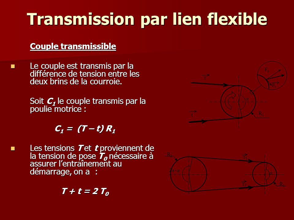 Transmission par lien flexible La différence entre T et t est due à l'adhérence de la courroie sur les poulies, La différence entre T et t est due à l'adhérence de la courroie sur les poulies, cette adhérence dépend: cette adhérence dépend: –du coefficient de frottement courroie/poulie: f –et de l'angle d'enroulement minimum (en général sur la petite poulie).