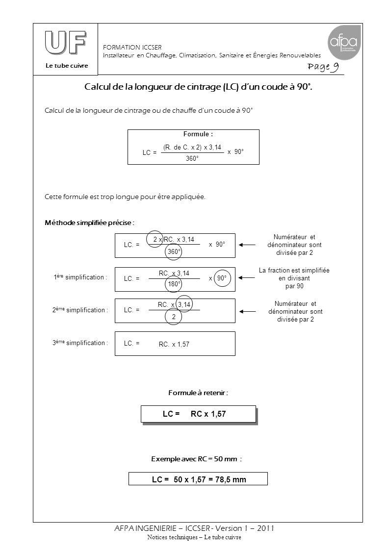 Le tube cuivre Page 9 AFPA INGENIERIE – ICCSER - Version 1 – 2011 Notices techniques – Le tube cuivre FORMATION ICCSER Installateur en Chauffage, Clim