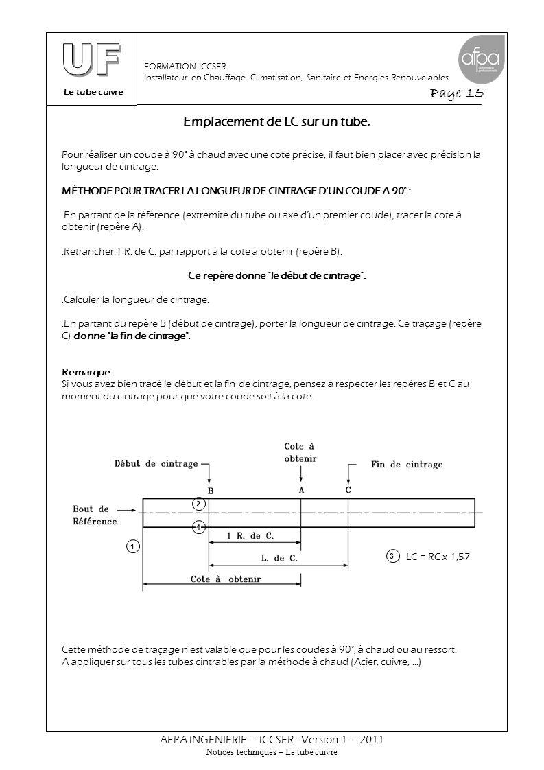 Le tube cuivre Page 15 AFPA INGENIERIE – ICCSER - Version 1 – 2011 Notices techniques – Le tube cuivre FORMATION ICCSER Installateur en Chauffage, Cli