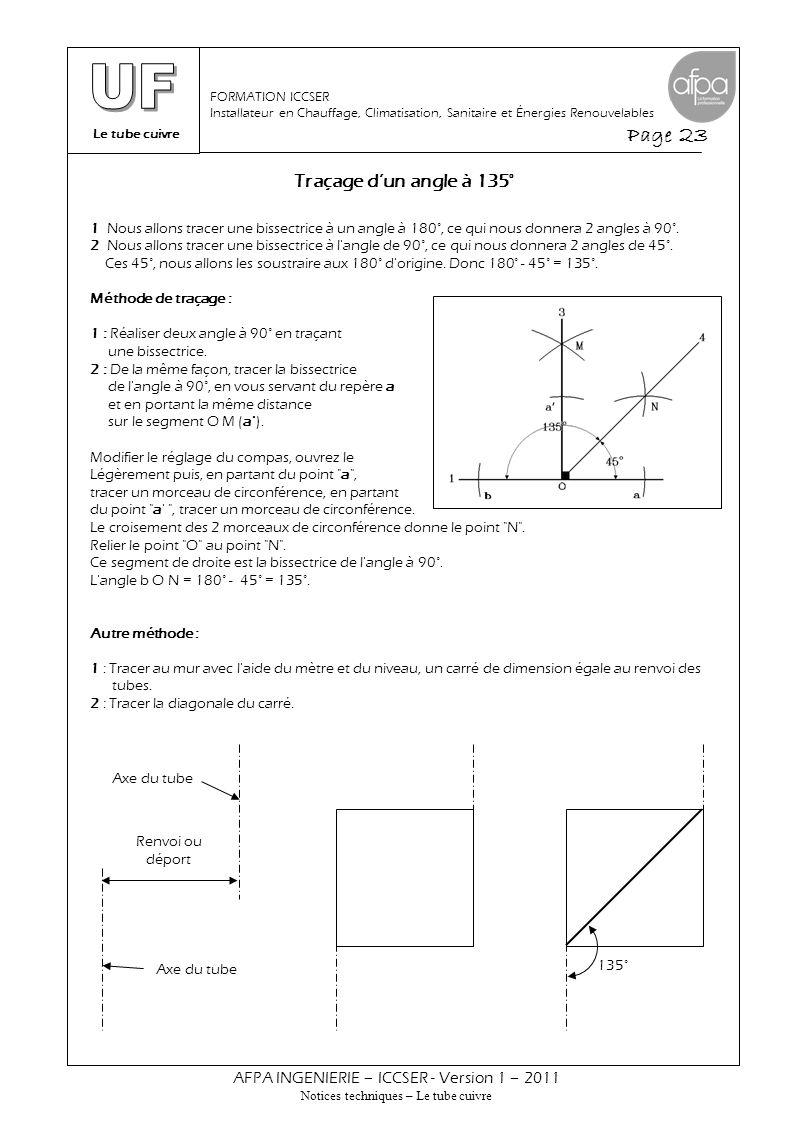 Le tube cuivre Page 23 AFPA INGENIERIE – ICCSER - Version 1 – 2011 Notices techniques – Le tube cuivre FORMATION ICCSER Installateur en Chauffage, Cli