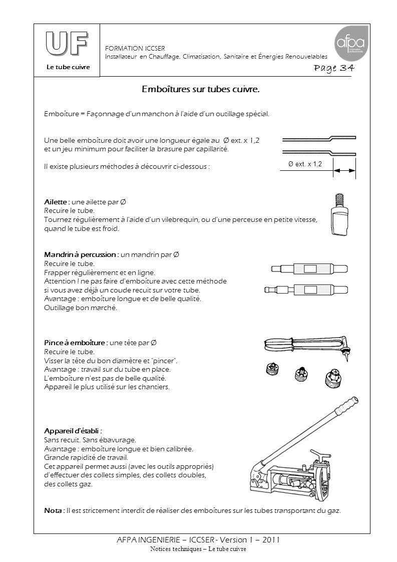 Le tube cuivre Page 34 AFPA INGENIERIE – ICCSER - Version 1 – 2011 Notices techniques – Le tube cuivre FORMATION ICCSER Installateur en Chauffage, Cli
