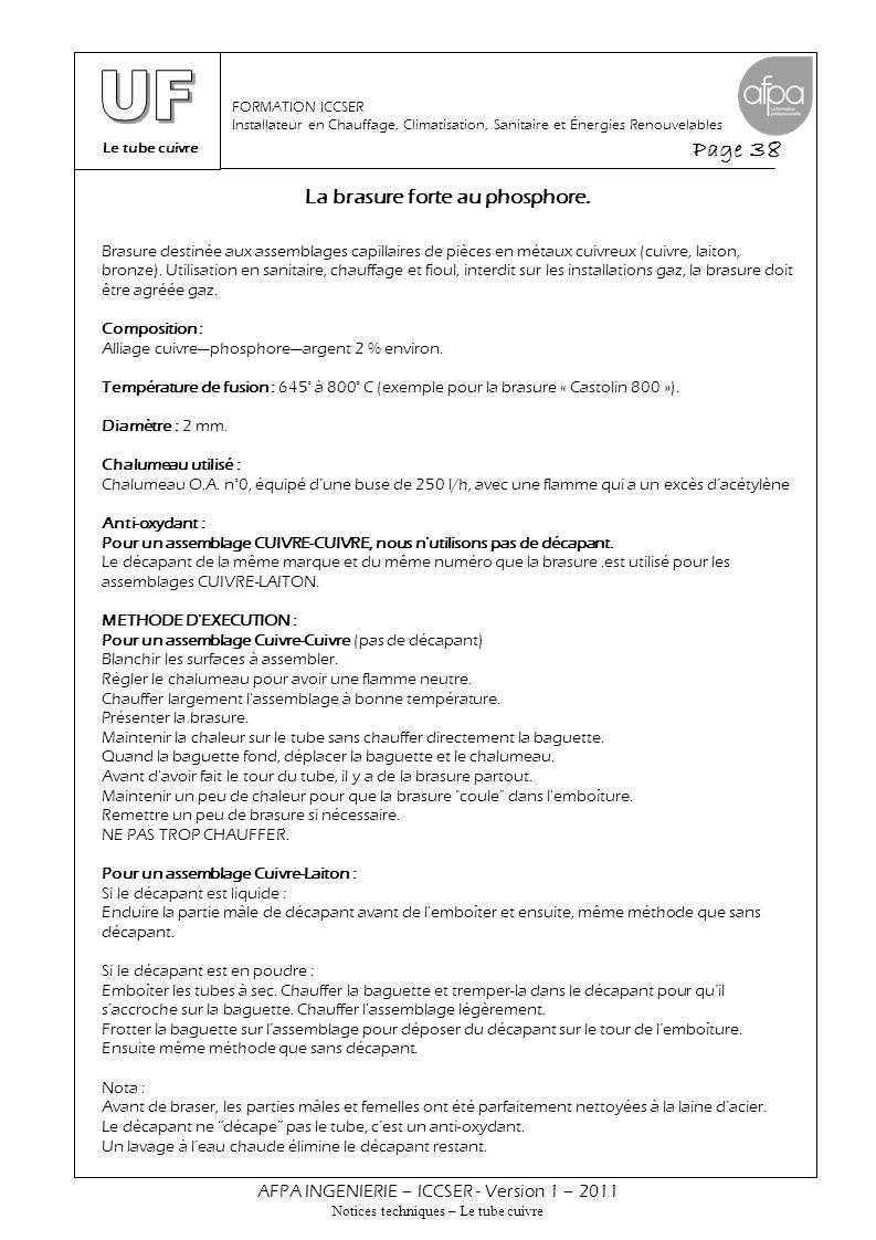 Le tube cuivre Page 38 AFPA INGENIERIE – ICCSER - Version 1 – 2011 Notices techniques – Le tube cuivre FORMATION ICCSER Installateur en Chauffage, Cli